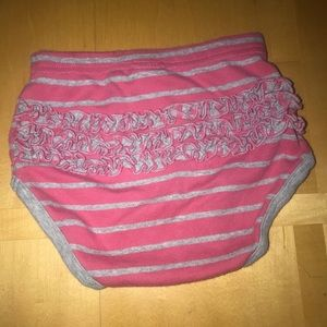 Hanna Andersson Gray & Pink Striped Ruffle Bloomer